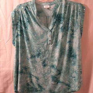 Avenue sleeveless blouse, pretty teal colors